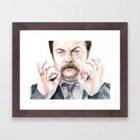 Swanson Mustache Framed Art Print