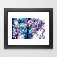 Framed Art Print featuring Red Berrys Retro Love by Die Farbenfluesterin