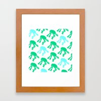 AT-AT's In Green And Blu… Framed Art Print