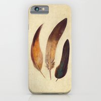 iPhone Cases featuring Three Feathers  by Terry Fan