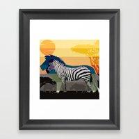 Sunset in Savanna Framed Art Print