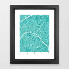 Paris Map Turquoise Framed Art Print
