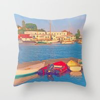 Alls Quiet In The Harbor Throw Pillow