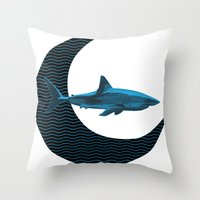 Shark Side Of The Moon Throw Pillow