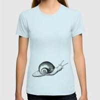 Snail Womens Fitted Tee Light Blue SMALL