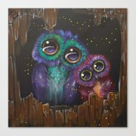 Colorful Owl Love Canvas Print