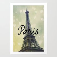 Paris Typography Eiffel … Art Print