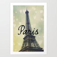 Paris Typography Eiffel Tower  Art Print