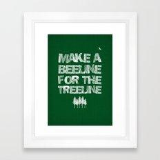 Make a beeline for the treeline Framed Art Print