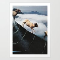 Rampaging Mountain Goats Art Print