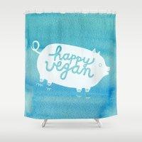Happy Vegan Shower Curtain