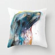 Throw Pillow featuring Sea Lion by Slaveika Aladjova