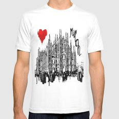 I love Milan SMALL White Mens Fitted Tee