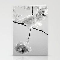 Cherry Blossoms in Black and White Stationery Cards