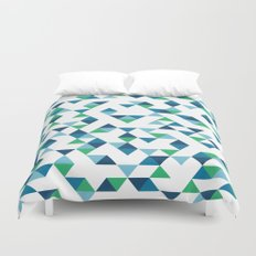 Triangles Blue and Green Duvet Cover