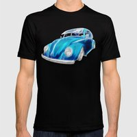 VW Beetle Blue Mens Fitted Tee Black SMALL