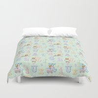 Teddy Bear Alphabet ABC's Green Duvet Cover