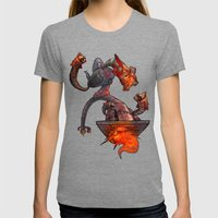 Robot Womens Fitted Tee Tri-Grey SMALL