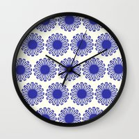Vintage Flower Blue Wall Clock