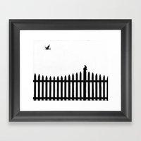 Bird On A Fence Framed Art Print