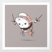 Samurai sushi - Shrimp Art Print