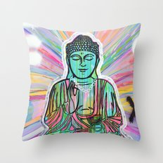 Psychedelic Buddha Throw Pillow