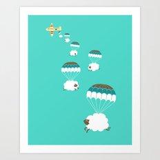 Sheepy clouds Art Print