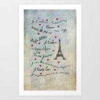 Paris Amour Valentines Design  Art Print