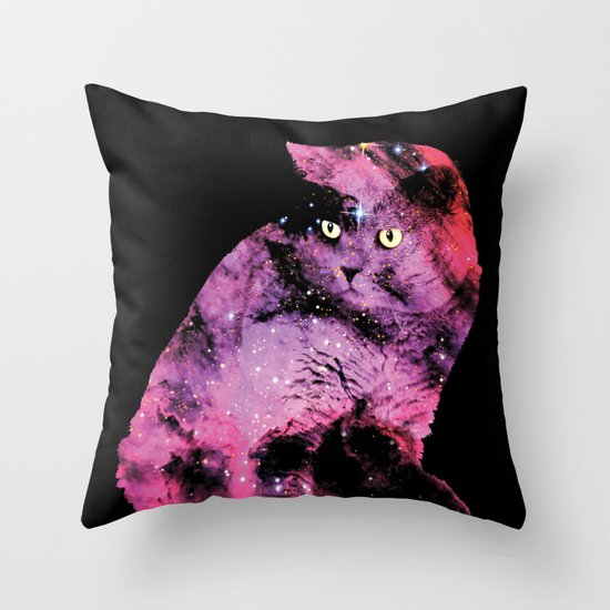 Celestial Cat - The British Shorthair & The Pelican Nebula Throw Pillow