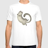 Happy Kitty Mens Fitted Tee White SMALL