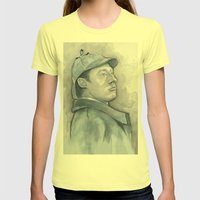 Data As Sherlock Holmes … Womens Fitted Tee Lemon SMALL