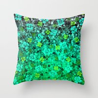 LUCK OF THE IRISH Colorful Emerald Green Ombre St Patricks Day Floral Shamrock Four Leaf Clover Art Throw Pillow