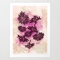 Peonies (black On Pink) Art Print