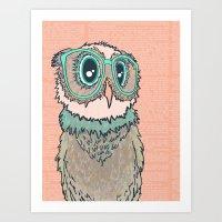 Owl wearing glasses II Art Print