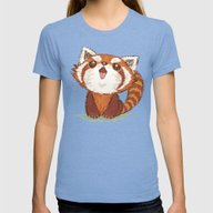 Red Panda Womens Fitted Tee Tri-Blue SMALL