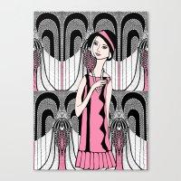 Art Deco Lady (black And… Canvas Print