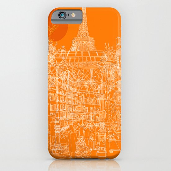 Paris! Orange Sun iPhone & iPod Case