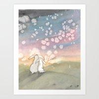 Sunset Fairies Art Print