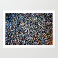 Blue Pebble Texture Art Print