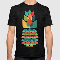 Colorful Whimsical Anana… Mens Fitted Tee Tri-Black SMALL