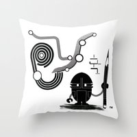 Robot Graffiti  Throw Pillow