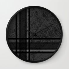 Grungy Grey Plaid Wall Clock