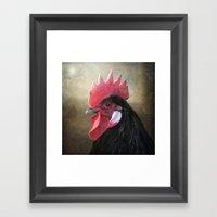 Black Rooster Framed Art Print
