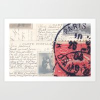Postale Paris Art Print