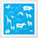 Animal Noises in Blue Art Print