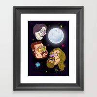 3 DUDE MOON Framed Art Print