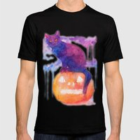 Halloween Cat Mens Fitted Tee Black SMALL