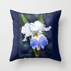 Susan's Blue Iris Throw Pillow