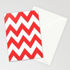 Red Chevron Lines Stationery Cards