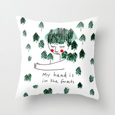 My head is in the forests Throw Pillow